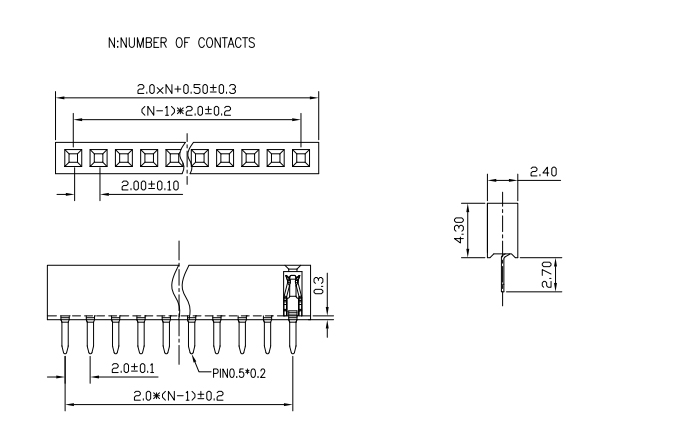 Top Entry Pitch 2.00mm Female Header Single Row - Drawing