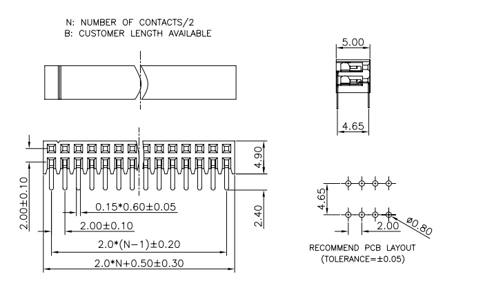 Dual Row Side Entry R/A Female Header 2.00mm Pitch - Drawing
