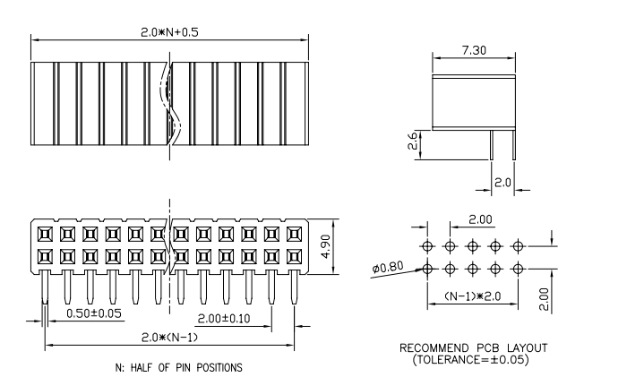 Dual Row Right Angle Female PIN Header Pitch 2.00mm - Drawing