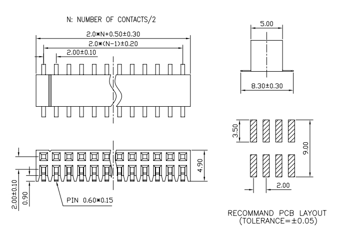 Right Angle Dual Row SMT Female Header 2.00 Pitch - Drawing