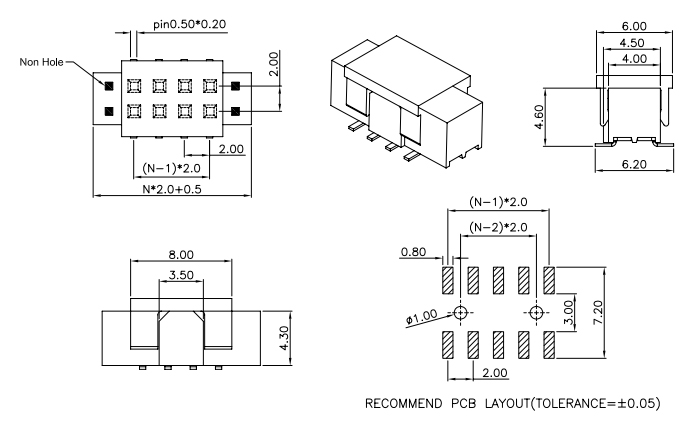 SMT Type Female PIN Header Straight 2.00 Pitch with Polarization - Drawing