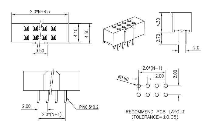 Vertical Through Dual Row 2.00mm Pitch Female Header with Polarization - Drawing