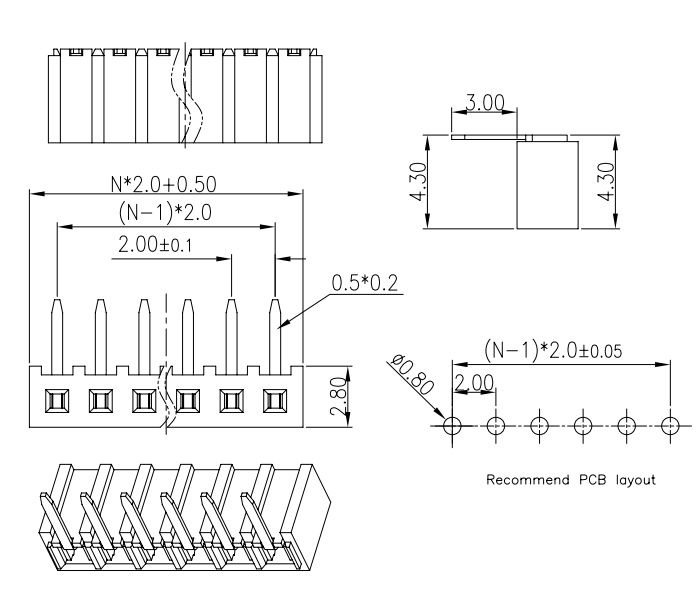 R/A Single Row Female Header Connector Pitch 2.00mm - Drawing