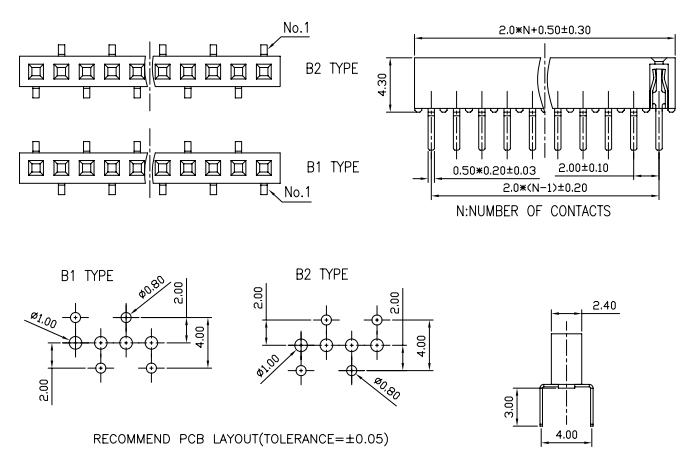 Bottom Entry Single Row Female Header 2.00mm Pitch 10 PIN - Drawing