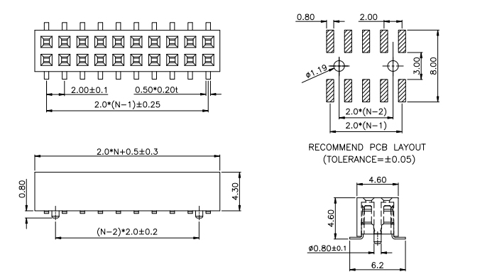 SMT Dual Row Pitch 2.00mm Female Header with Locating pegs - Drawing