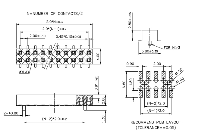 SMT Dual Row Pitch 2.00mm Female Header 4-80 Positions H=2.8mm - Drawing