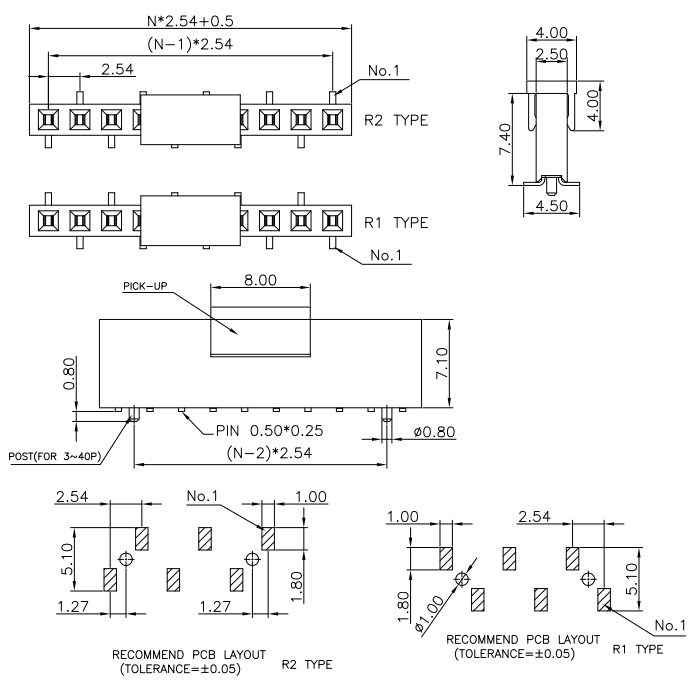 SMT Type 2.54mm Female Header 7.1mm Height - Drawing