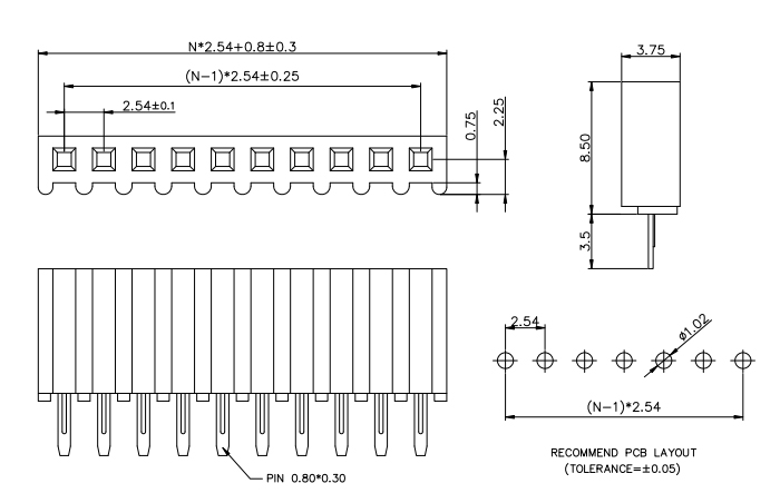 Top Entry Single Row 2.54mm Pitch Female PIN Connecor H=8.5mm - Drawing