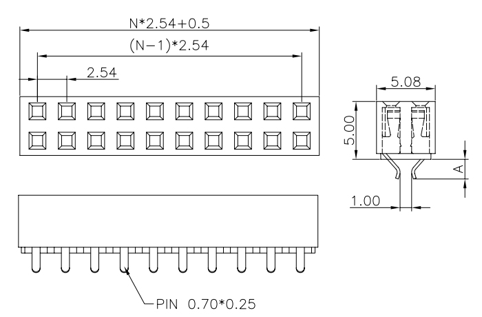 Straddle Type Female Header Connector 2.54 Pitch 20P - Drawing