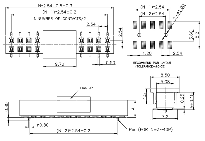 SMT Type 2 Rows Female PIN Header Connector 2.54mm - Drawing