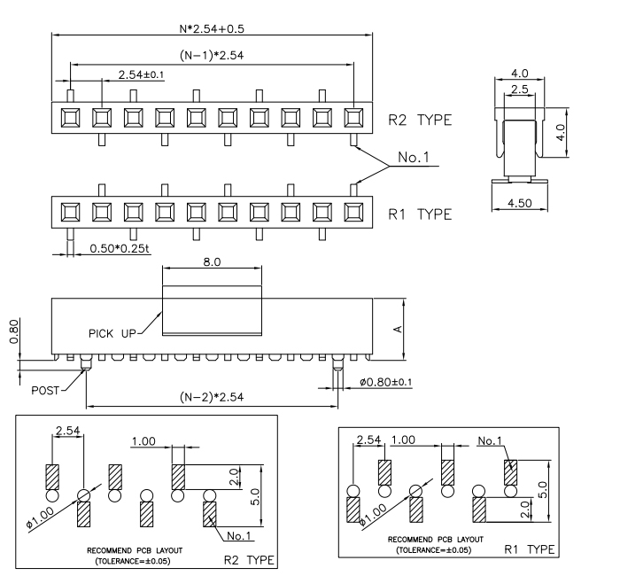 Vertical Through SMT Type Single Row 2.54mm Female PIN Header - Drawing