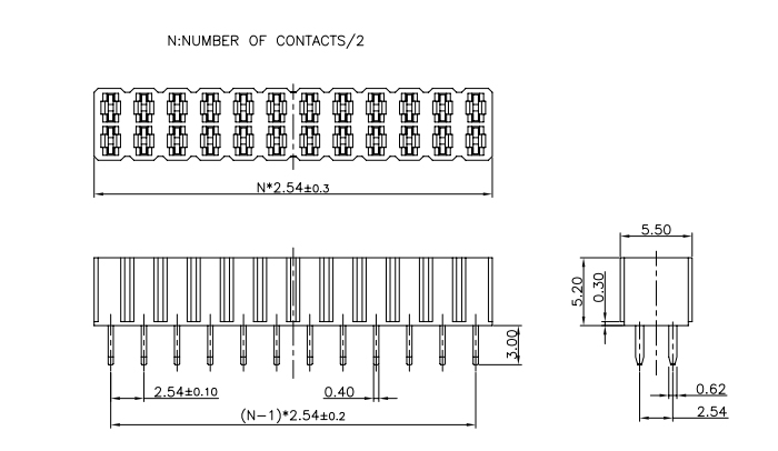 Dual Row 2.54 Pitch Female Header Connector H=5.2mm - Drawing