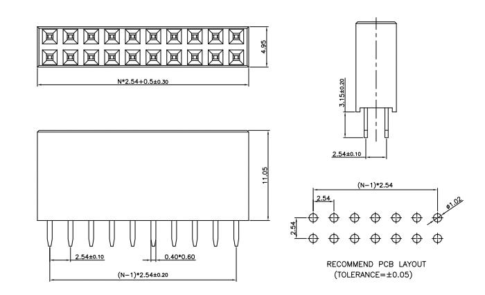 Vertical Mount Female Header Socket 2.54mm Dual Row - Drawing