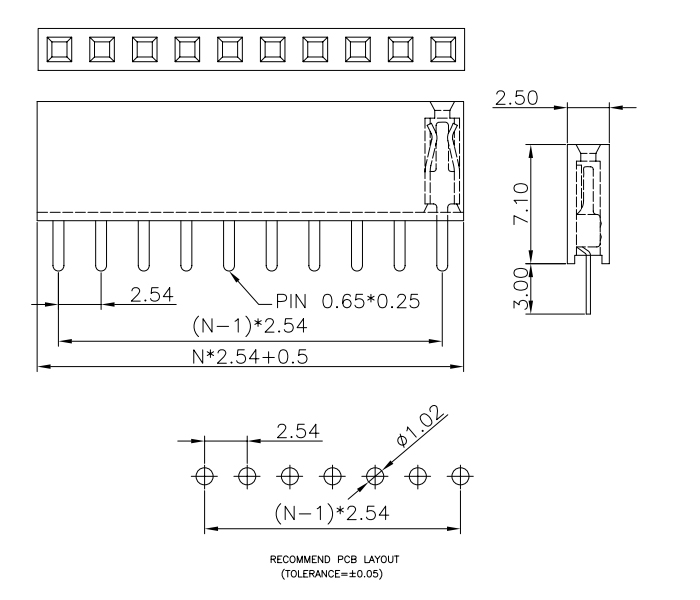 Single Row Vertical Through Female PIN Header 2.54 Pitch H=7.1mm - Drawing