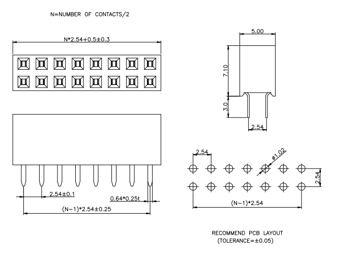 Double Rows Female Header Connector Top Entry H=7.1mm - Drawing
