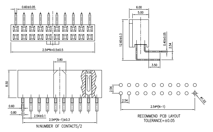 R/A 2.54 Pitch Female Header Conn with Porlarization - Drawing