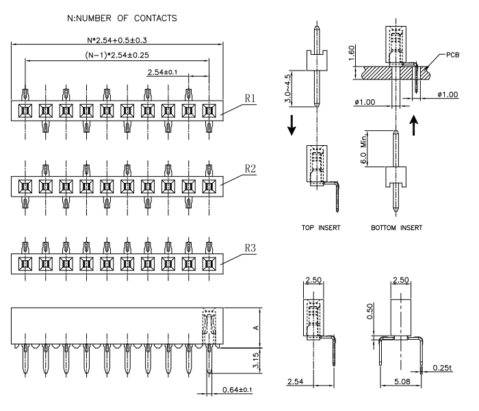 Side Vertical Mount Female Header 2.54mm Pitch Single Row - Drawing