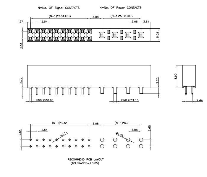 Vertical Mount 5.08mm & 2.54mm Pitch Female Header Combination - Drawing
