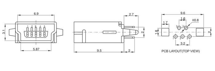Vertical Mount Mini USB 2.0 Type B Female Conn Kinked Legs Drawing