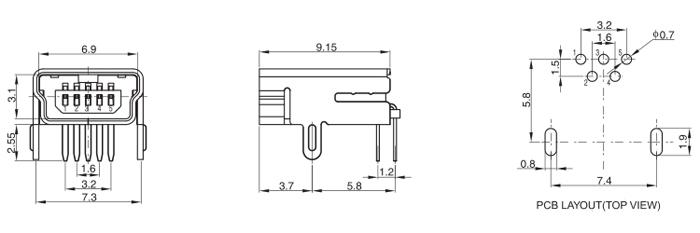 Mini USB 2.0 Type B Female Conn 5PIN Horizontal Mount Drawing