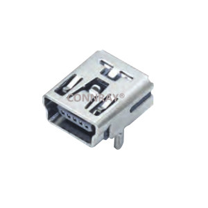 Mini USB 2.0 Type B Female Conn 5PIN Horizontal Mount