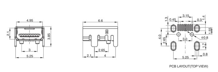 Mini USB B Type 8PIN Surface Mount Drawing