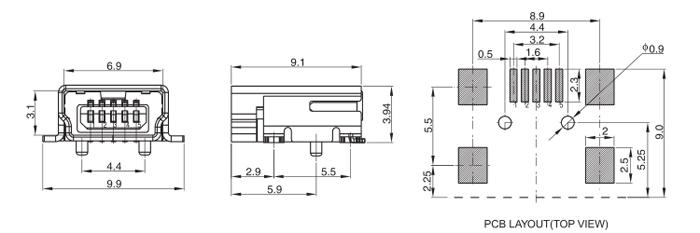 Mini USB 2.0 B Type Female Conn SMT 5PIN Drawing