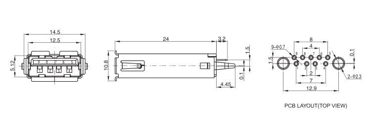 USB 3.0 A Female Connector Long Body Vertical Mount Drawing