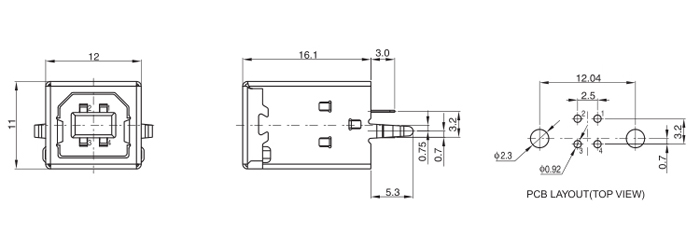 USB B Type Female Connector Kinked legs Top Entry 4 PINS Drawing