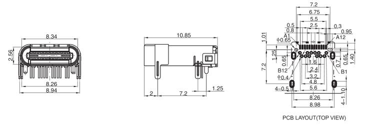 USB 3.1 Conn R/A 12P Straight Legs Drawing
