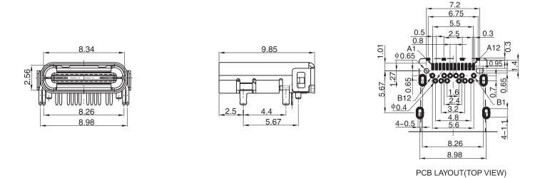 USB 3.1 C Type Female Connector 12PIN 4 Legs Drawing