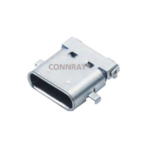USB3.1 Type-C Female Conn R/A 24PIN OFFSET Middle Mount