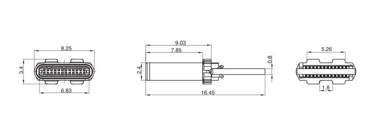 USB3.1 Type-C Male Plug PCB Drawing