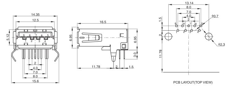 USB 3.0 AF Conn R/A 9P Kinked legs Drawing