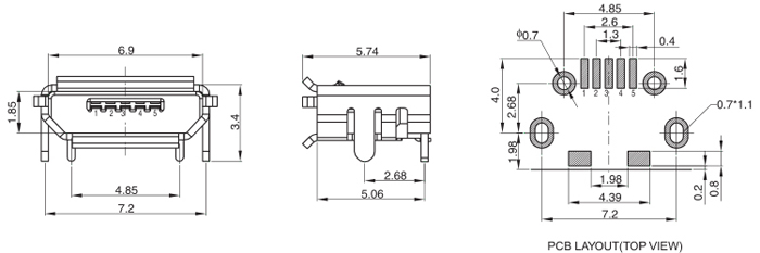 Bottom Mount SMT Micro USB 5PIN Drawing