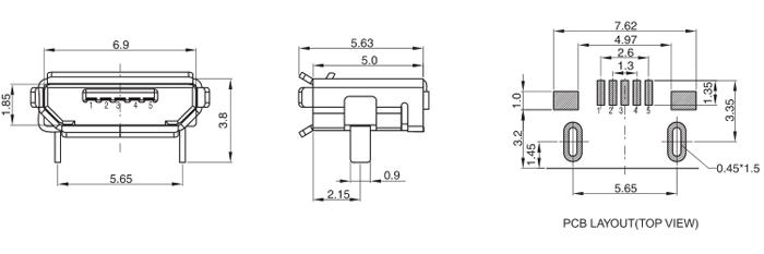 Micro USB Jack 2.0 B Type 5P Surface Mount Drawing