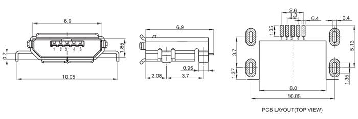 Mid Bottom Mount Micro USB 2.0 Jack 5PINS SMT Drawing