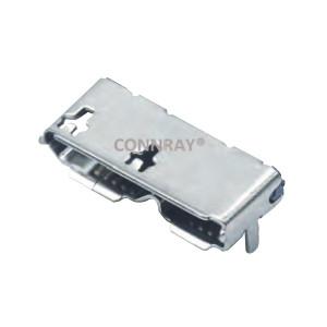 Micro USB 3.0 Female Conn B Type 2 ports SMT 10PINS