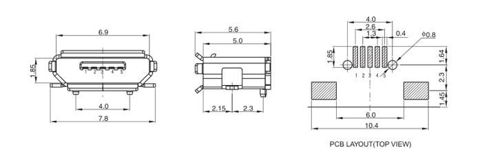 Micro USB Jack SMT Type Bottom Mount Drawing