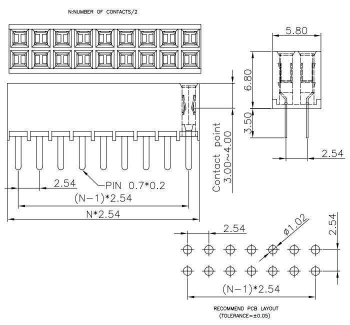 Double Row Vertical Mount Female Header 2.54 H=6.8mm - Drawing