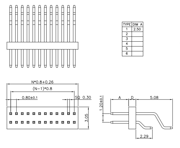 SMT Type Dual Row Right Angle 0.8*1.2mm Pitch PIN HEADER Drawing
