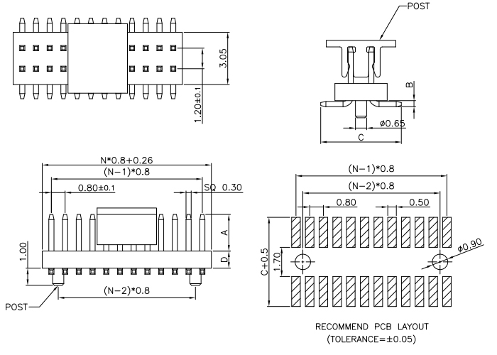 SMT Type Dual Rows Straight 0.8*1.2mm Pitch PIN HEADER - Drawing
