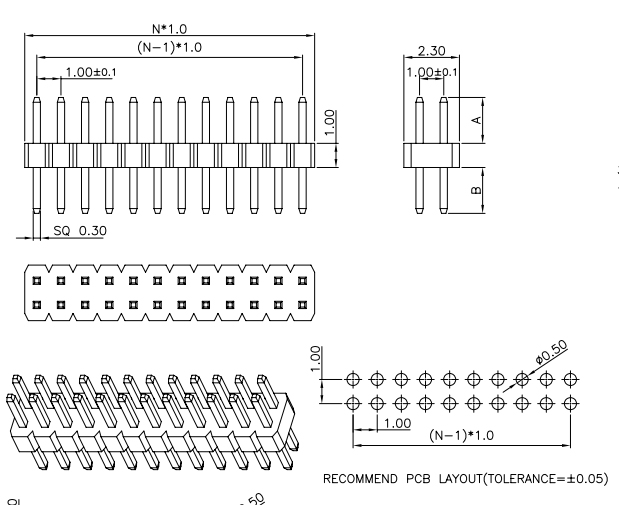 Vertical Through Dual Row PIN Header 1.00mm Pitch - Drawing
