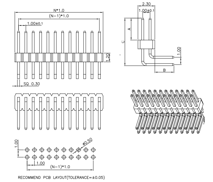 Right Angle Dual Row PIN Header Pitch 1.00 - Drawing