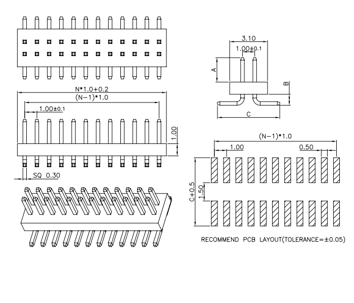 Top Entry Dual Row SMT Pitch 1.00mm PIN Header - Drawing