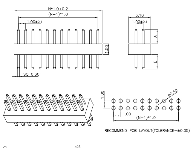 Vertical Through Dual Row Straight Pitch 1.00mm PIN Header - Drawing