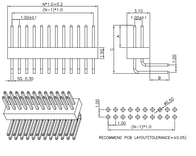 R/A Dual Row PIN Header Pitch 1.00 - Drawing
