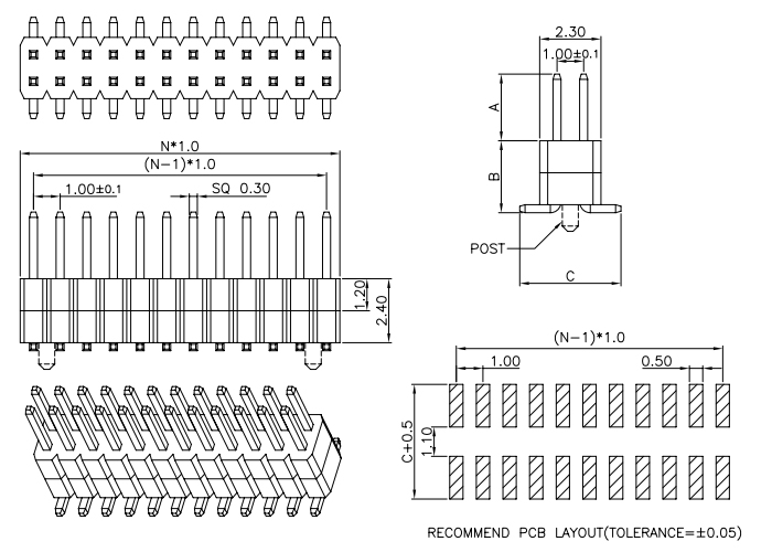 Dual Row Stack SMT Pitch 1.00mm PIN Header - Drawing