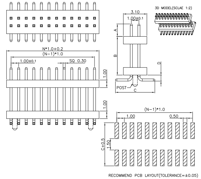 Top Entry Stack PIN Header Conn SMT Pitch 1.00mm - Drawing