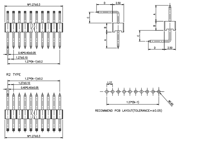 Single Row 12PIN Side Entry 1.27mm Pitch PIN Header - Drawing